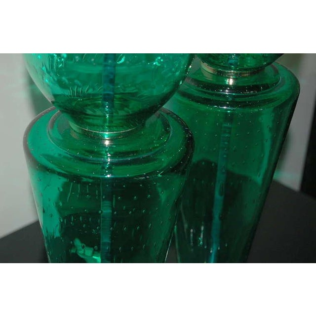 Silver Vintage Murano Glass Table Lamps Green For Sale - Image 8 of 10