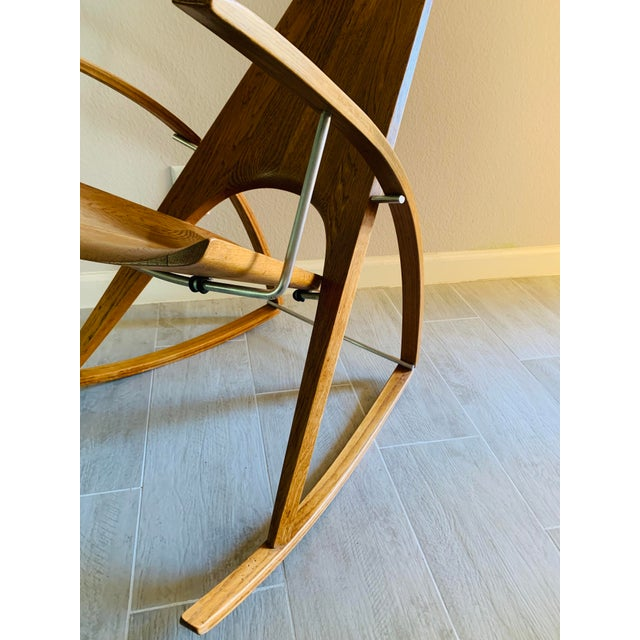 Brown Mid Century Modern Leon Meyer Sculptural Rocking Chair For Sale - Image 8 of 13
