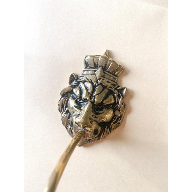 Hollywood Regency Brass Lion King Hooks/Pair For Sale - Image 3 of 5