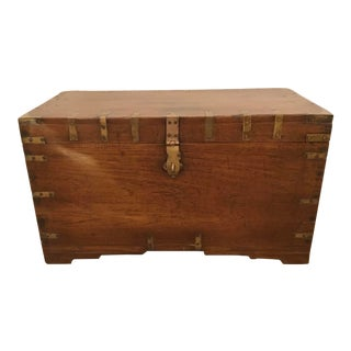 Antique Oak and Brass Trunk For Sale