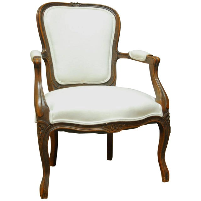 antique french louis xv carved fauteuil armchair chairish. Black Bedroom Furniture Sets. Home Design Ideas