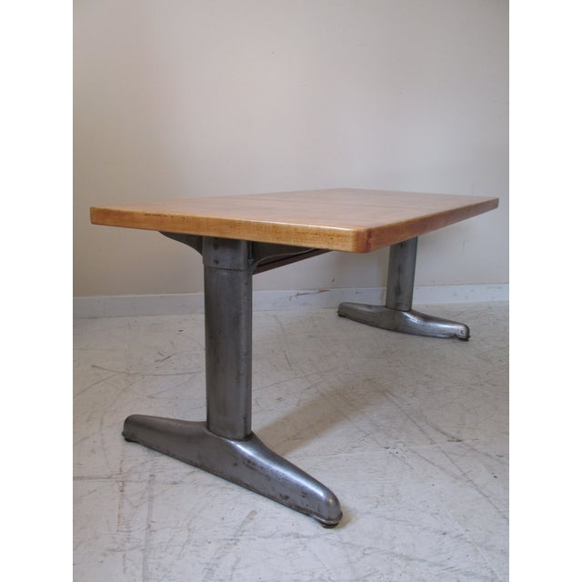 Vintage Institutional Style Maple & Steel Coffee Table - Image 2 of 10