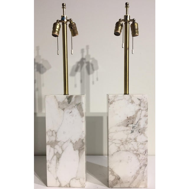 1960s Mid Century Modern Von Nessen Marble Lamps - a Pair For Sale - Image 11 of 11
