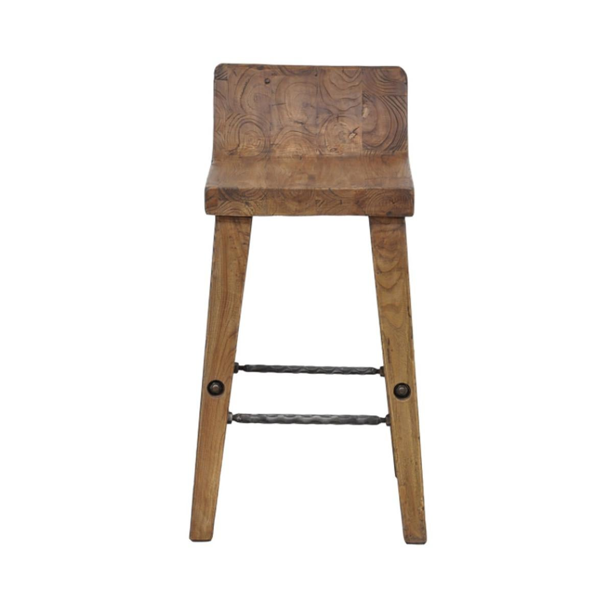 Teak Wood Amp Iron Bar Stool Chairish