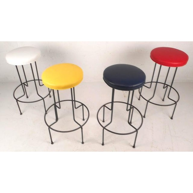 Mid-Century Modern Set of Mid-Century Modern Wrought Iron Bar Stools by Frederick Weinburg For Sale - Image 3 of 8