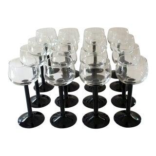 Vintage French Luminarc Black Stem & Clear Goblet White Wine Glasses - Set of 16 For Sale