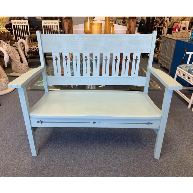 1940s Vintage Farmhouse Chic Solid Oak Bench For Sale - Image 13 of 13