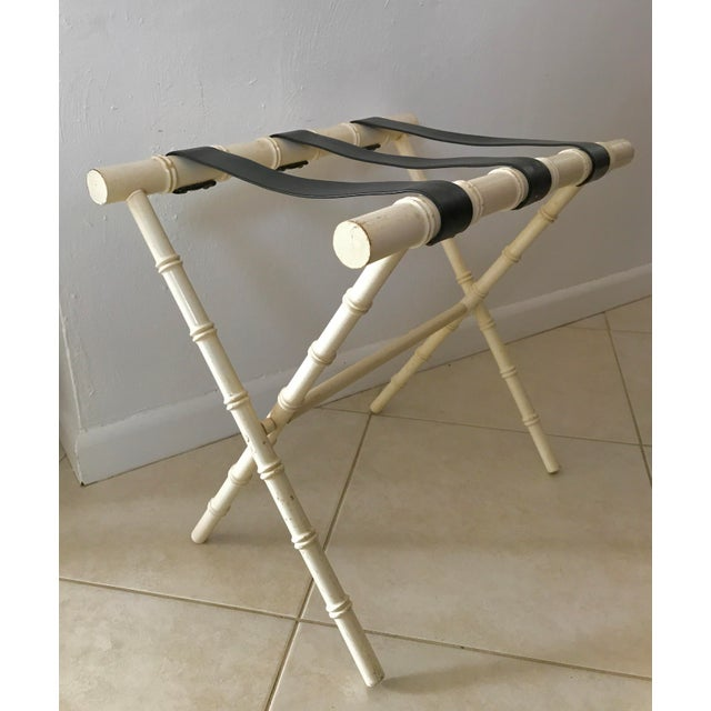 Vintage Dorothy Draper Style Faux Bamboo Ivory White Suitcase Luggage Rack For Sale - Image 11 of 11