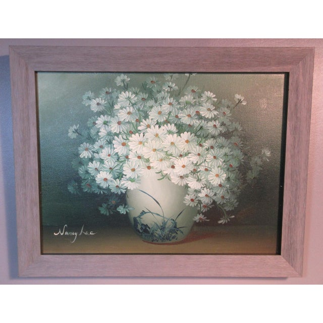 "White Original ""Daisies"" Oil on Canvas Painting Signed by Nancy Lee For Sale - Image 8 of 8"