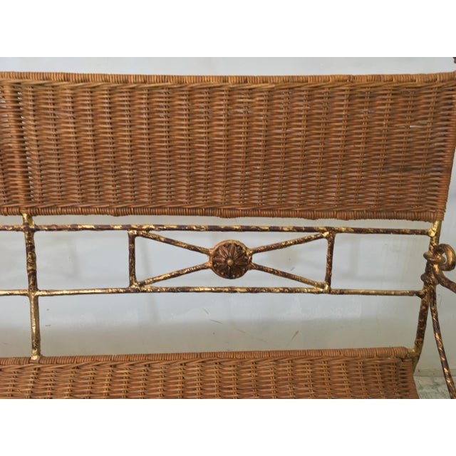 Neo-Classical Style Wicker Settee For Sale - Image 4 of 4
