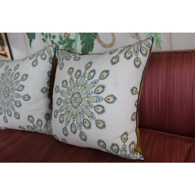 Pair of very large 1960s mid-century modern printed linen down pillows. These beauties, made of ecru white linen with blue...