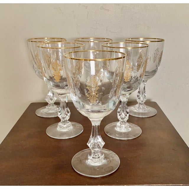 Vintage Modern Clear Gilt Tiffin Glass Wine Glasses - Set of 6 For Sale In San Diego - Image 6 of 6