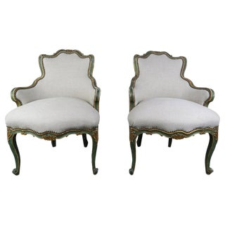 Pair of French Painted and Parcel Gilt Armchairs $4,500 For Sale
