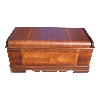 Vintage Art Deco Waterfall Cedar Hope Chest Blanket Storage Trunk Bed Bench For Sale