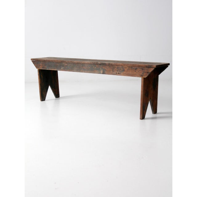 Early 20th Century Antique Wooden Bench For Sale - Image 5 of 11