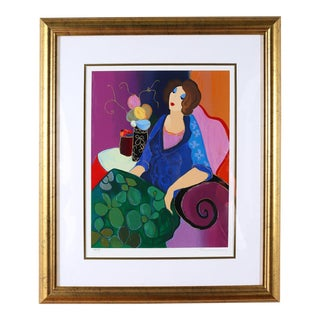 Giltwood Framed Itzchack Tarkay Signed & Numbered Serigraph For Sale