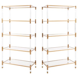 Set of Maelie Lucite Acrylic & Gold Etagere Bookcases with Glass Shelves - A Pair