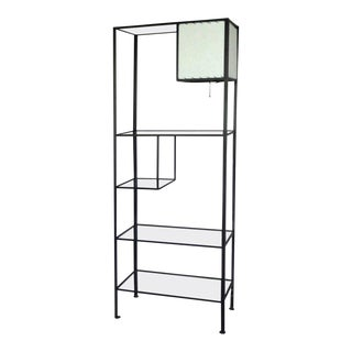 Frederick Weinberg Iron and Glass Shelf Unit With Lamp For Sale
