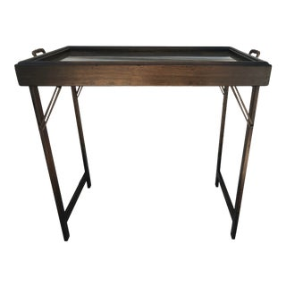 Early 1900s Mahogany Campaign Style Tray Table For Sale