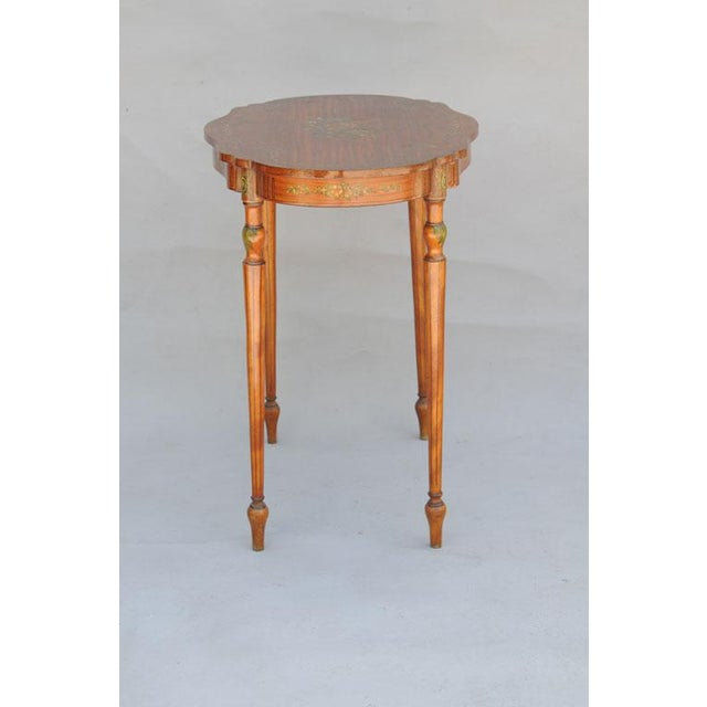 Paint Exquisite Hand Painted Satinwood Table For Sale - Image 7 of 10