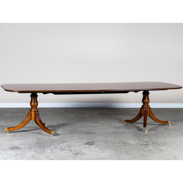 Burl Walnut Sheraton Style Double Pedestal Dining Table, Two Leaves, Hand Made in England - Image 11 of 11
