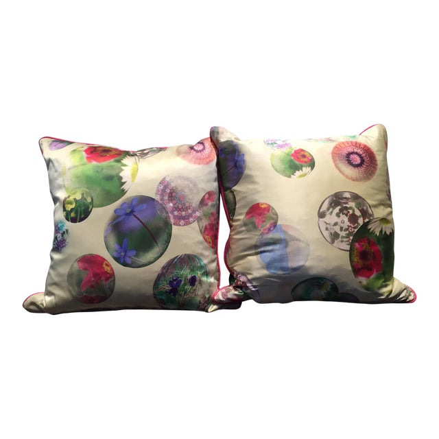 Contemporary Silk Printed Pillows - A Pair For Sale
