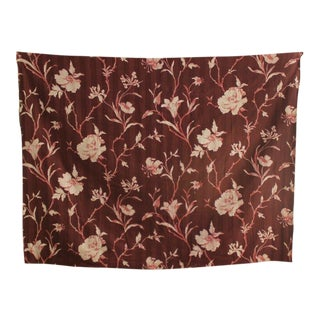 Fabric Vintage French Art Deco Material Sienna Brown Ground Floral Circa 1930's For Sale