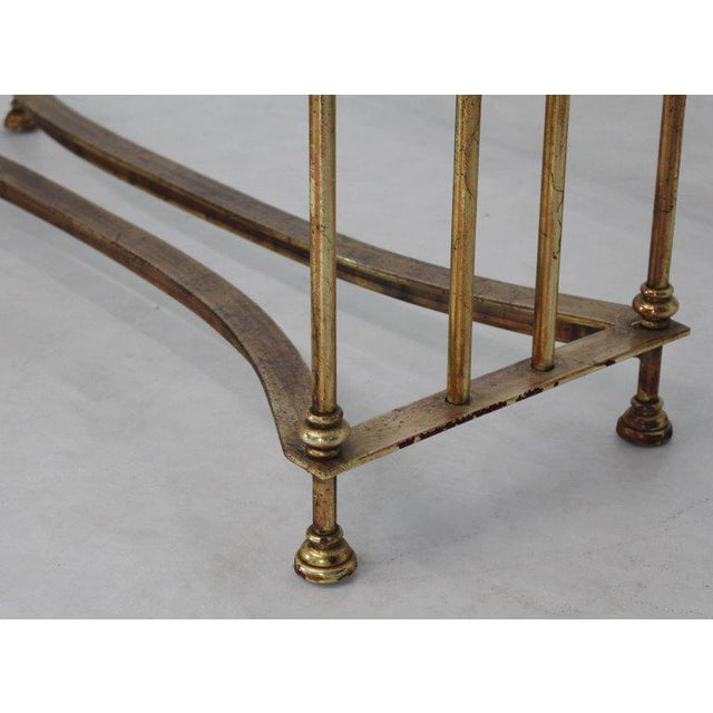 Glass Gold Gild Iron Base Glass Top Console Table For Sale - Image 7 of 9