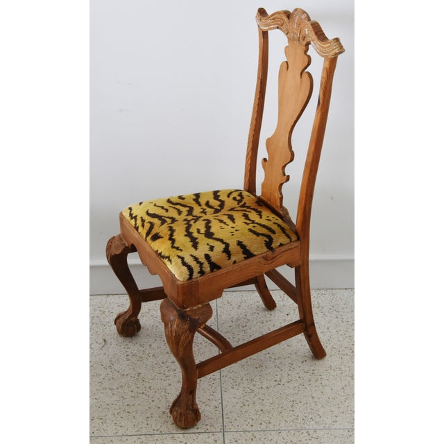 Mid 20th Century Italian Scalamandre Le Tigre (Tiger) Velvet Side Chairs - Pair For Sale - Image 5 of 13