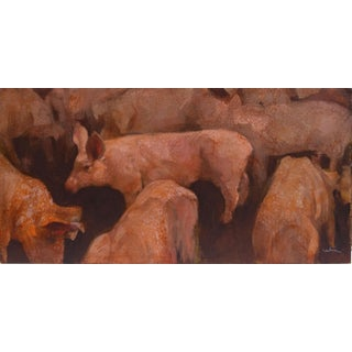 """Piggies"" Contemporary Farmscape Oil Painting by Neil Iwan For Sale"