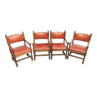Arts & Crafts Style Oak & Leather Chairs - Set of 4 For Sale