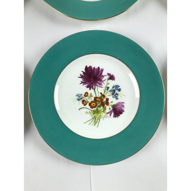 Minton Signed J. Colclough Minton H4780 Hand Painted Floral Aqua Rim Plates - Set of 12 For Sale - Image 4 of 13