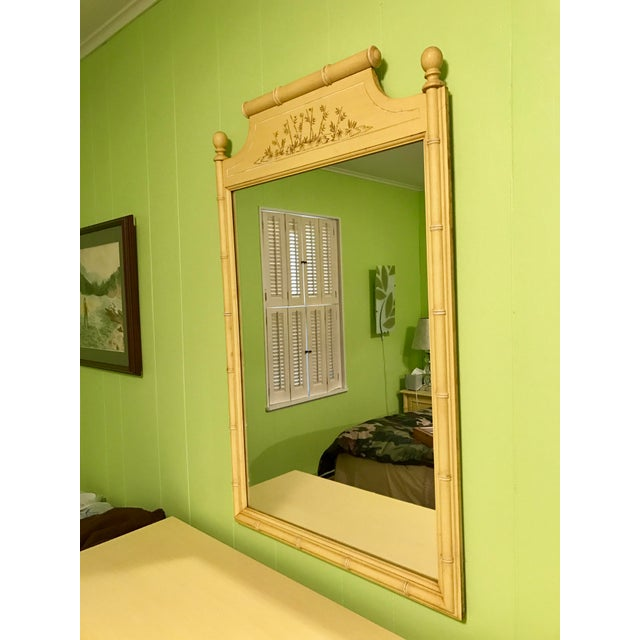 Vintage Yellow Bamboo-Style Mirror - Image 2 of 3