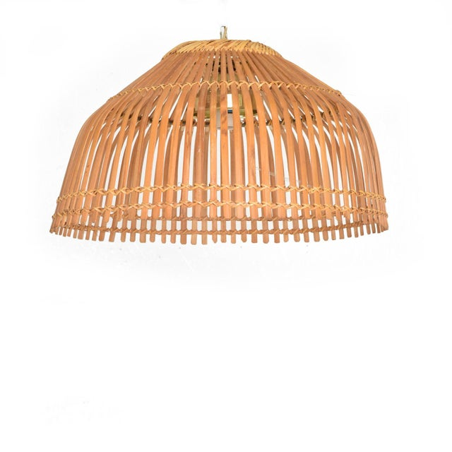 Mid-Century Modern Rattan Pendant Hanging Lamp For Sale - Image 9 of 9