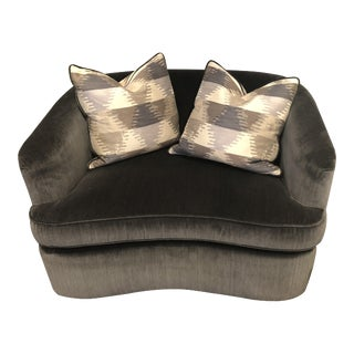 Charcoal Upholstered Chair & a Half