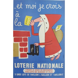 1935 Original French National Lottery Poster, Santa Claus