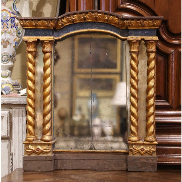 Mid-18th Century Italian Baroque Carved Polychrome and Giltwood Wall Mirror For Sale - Image 13 of 13