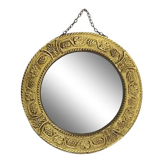 Embossed Brass Convex Wall Mirror For Sale