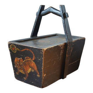 Antique Hand Painted Chinese Wooden Rice Box With Tiger & Dragon For Sale