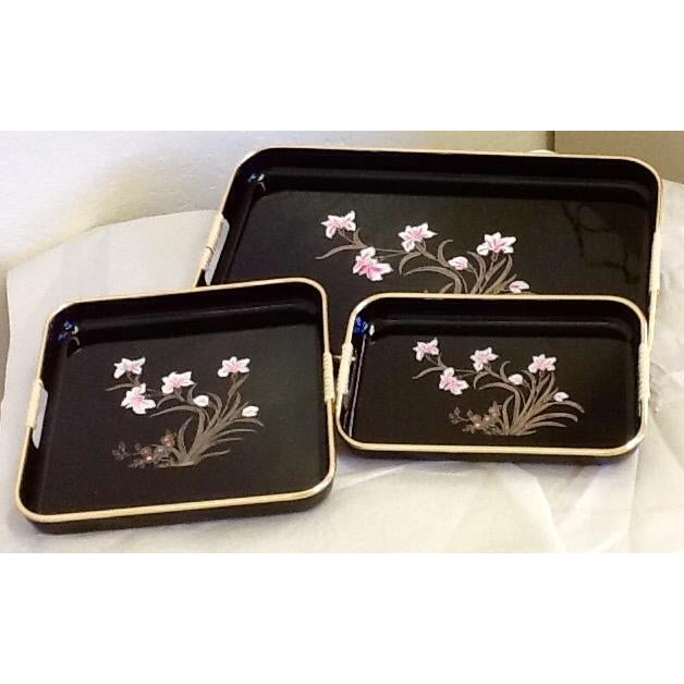 3 Mid-Mod Lacquerware Hand Decorated Trays-Unused - Image 2 of 7
