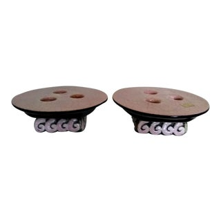 1960's Modern Pink & Black Ceramic Candleholders - a Pair For Sale