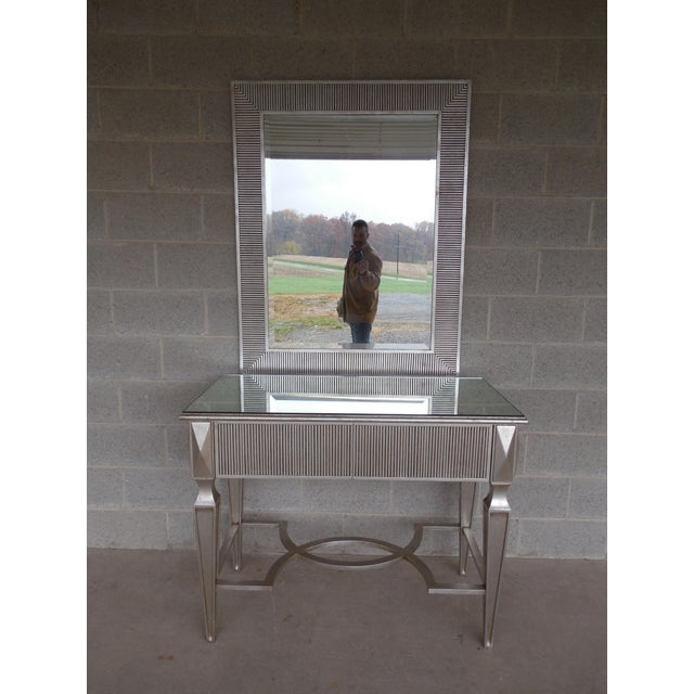 Hollywood Regency Friedman Brothers Hollywood Regency Silver Gilt Console & Mirror For Sale - Image 3 of 11