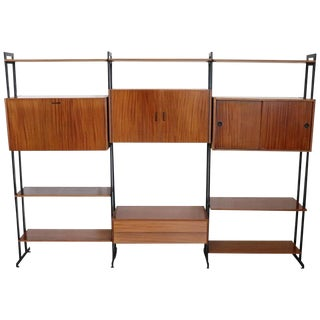 20th Century Italian Vintage Design Large Bookcase in Teak and Iron, 1960s For Sale