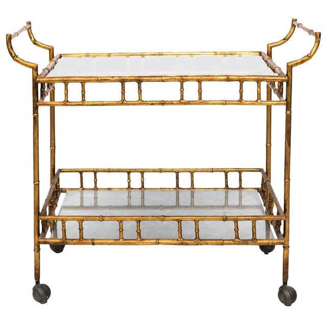 Gold 1950s Hollywood Regency Faux Bamboo Bar Cart For Sale - Image 8 of 8