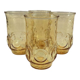 1960s Gold Thumbprint Glasses - Set of 4 For Sale