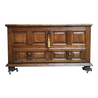 Antique French Country Carved Oak Mule Chest Bench/Trunk For Sale