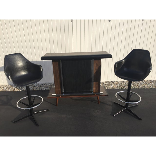Mid-Century Black Vinyl Bar & Bar Stools - Set of 3 - Image 2 of 11