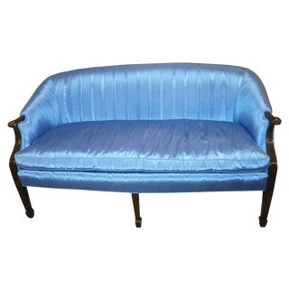 Traditional Blue Silk Upholstered Settee For Sale