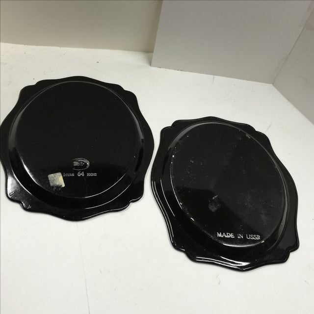 Russian Black Painted Floral Trays - A Pair For Sale - Image 5 of 7