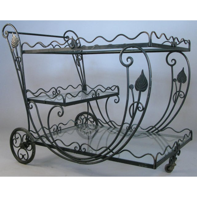 Black Vintage 1950's Wrought Iron Scroll Bar Cart For Sale - Image 8 of 8